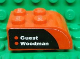 Part No: 6215pb02L  Name: Brick, Modified 2 x 3 with Curved Top with 'Guest' and 'Woodman' on Black and Red Background Pattern Model Left Side (Sticker) - Set 8655