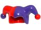 Part No: 62537pb05  Name: Minifigure, Headgear Jester's Cap with Dark Purple Left Side and Dark Purple Pom Pom Right Side Pattern