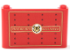 Part No: 64453pb010  Name: Windscreen 1 x 6 x 3 with Gold 'HOGWARTS RAILWAYS', Gold Hogwarts Logo, Black Rivets and Gold Borders on Red Background Pattern (Sticker) - Set 75955