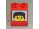 Part No: 6474pb01  Name: Duplo, Brick 2 x 2 Slope 45 with Face with Black Hair Short Pattern