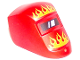 Part No: 65195pb01  Name: Minifigure, Visor Welding with Flames Orange and Yellow Pattern