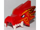 Part No: 65428pb01  Name: Dragon Head (Ninjago) Upper Jaw with Four White Teeth per Side with Bright Light Orange and Dark Red Markings Pattern