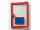 Part No: 73435c01pb01  Name: Door 1 x 4 x 5 Right with Trans-Clear Glass and Blue Open Hours '9-12 / 14-17' Pattern (Sticker) - Set 6373