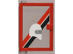 Part No: 73436c01pb01  Name: Door 1 x 4 x 5 Left with Trans-Clear Glass and Red & Black diagonal Stripe and White Helmet Pattern (Sticker) - Set 6373