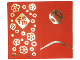 Part No: 75562pb01  Name: Duplo Cloth Blanket 5 x 5 Folded with Flowers and Chinese Logogram Pattern