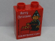 Part No: 76371pb153  Name: Duplo, Brick 1 x 2 x 2 with Bottom Tube with Merry Christmas LEGOLAND Discovery Centere Elf 2018 Pattern