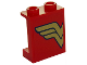 Part No: 87552pb040L  Name: Panel 1 x 2 x 2 with Side Supports - Hollow Studs with Gold Wonder Woman Left Half Logo Pattern (Sticker) - Set 41235