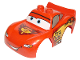 Part No: 88765pb03  Name: Duplo Car Body 2 Top Studs and Spoiler with Cars Lightning McQueen Piston Cup Pattern