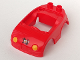 Part No: 92014pb04  Name: Duplo Car Body with 2 Studs on Back and Yellow Headlights and Reverse Fire Logo Pattern (fits over Car Base 2 x 4)