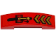 Part No: 93273pb052  Name: Slope, Curved 4 x 1 Double with Gold Chevrons and Lever Pattern (Sticker) - Set 70737