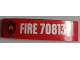 Part No: 93273pb070  Name: Slope, Curved 4 x 1 Double with Fire Logo Badge and 'FIRE 70813' Pattern (Sticker) - Set 70813