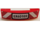 Part No: 93273pb117  Name: Slope, Curved 4 x 1 Double with 'ER60169' License Plate and Red and White Danger Stripes Pattern (Sticker) - Set 60169