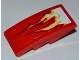 Part No: 93606pb004L  Name: Slope, Curved 4 x 2 with White and Yellow Flames Pattern Model Left Side (Sticker) - Set 9441