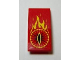 Part No: 93606pb016  Name: Slope, Curved 4 x 2 with Yellow Flames and Eye of Sauron Pattern (Sticker) - Set 79006