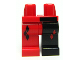 Part No: 970d03pb01  Name: Minifigure, Legs with Hips - 1 Black Left Leg, 1 Red Right Leg with Diamonds, Red Diamonds on Middle, Black Bar Above Left Leg Pattern