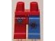 Part No: 970d11pb01  Name: Minifigure, Legs with Hips - 1 Medium Blue Left Leg with Red Patch, 1 Red Right Leg with Medium Blue Patch Pattern