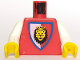 Part No: 973p4dc01  Name: Torso Castle Royal Knights Lion Head on Red/White Shield Pattern / White Arms / Yellow Hands