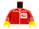 Part No: 973pb0035c01  Name: Torso Post Office Worker, Suit and Horn Logo Pattern / Red Arms / Yellow Hands
