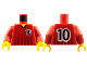 Part No: 973pb0173c01  Name: Torso Soccer Black Fading Stripes and No. 10 Front and Back Pattern / Red Arms / Yellow Hands