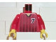 Part No: 973pb0208c01  Name: Torso Soccer Black Fading Stripes and No. 7 Front and Back Pattern / Red Arms / Yellow Hands