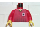 Part No: 973pb0209c01  Name: Torso Soccer Black Fading Stripes and No. 8 Front and Back Pattern / Red Arms / Yellow Hands