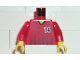 Part No: 973pb0210c01  Name: Torso Soccer Black Fading Stripes and No. 14 Front and Back Pattern / Red Arms / Yellow Hands