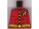 Part No: 973pb0224  Name: Torso Batman 'R' Symbol, 4 Yellow Clasps and Belt Pattern