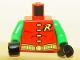 Part No: 973pb0224c01  Name: Torso Batman 'R' Symbol, 4 Yellow Clasps and Belt Pattern / Green Arms / Black Hands
