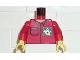Part No: 973pb0235c01  Name: Torso Post Office Worker, Shirt and Horn Logo on Blue Background Pattern / Red Arms / Yellow Hands