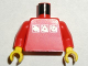 Part No: 973pb0274c01  Name: Torso Gravity Games with 3 White & Silver Logos Pattern / Red Arms / Yellow Hands