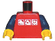 Part No: 973pb0274c02  Name: Torso Gravity Games with 3 White & Silver Logos Pattern / Dark Blue Arms / Yellow Hands