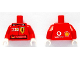 Part No: 973pb0341c01  Name: Torso Racers Ferrari front, Vodafone back (Stickers) with M. Schumacher Name Pattern / Red Arms / White Hands