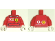 Part No: 973pb0390c01  Name: Torso Racers Ferrari front, Vodafone back (Stickers) without Driver Name Pattern / Red Arms / White Hands