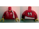 Part No: 973pb0450c01  Name: Torso Soccer Adidas Logo Red No. 11 Pattern (Stickers) / Red Arms / Yellow Hands