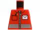 Part No: 973pb0459  Name: Torso Postal Worker, White Envelope and Zipper Pattern