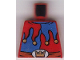 Part No: 973pb0514  Name: Torso Castle Fantasy Era Red and Blue Jester's Collar, Crown on Buckle Pattern