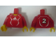 Part No: 973pb0554c01  Name: Torso Soccer Adidas Logo, Red and White No. 2 Pattern (Stickers) / Red Arms / Yellow Hands