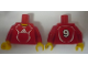 Part No: 973pb0557c01  Name: Torso Soccer Adidas Logo, Red and White No. 9 Pattern (Stickers) / Red Arms / Yellow Hands