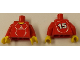Part No: 973pb0570c01  Name: Torso Soccer Adidas Logo, Red and White No. 15 Pattern (Stickers) / Red Arms / Yellow Hands