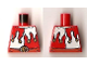Part No: 973pb0675  Name: Torso Castle Kingdoms Red and White Jester's Collar, Lion head on Buckle Pattern