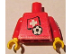 Part No: 973pb0820c01  Name: Torso Soccer Red/White Team, Swiss Flag Sticker Front, Black Number Sticker Back (specify number in listing) / Red Arms / Yellow Hands