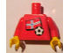 Part No: 973pb0822c01  Name: Torso Soccer Red/White Team, Norwegian Flag Sticker Front, Black Number Sticker Back (specify number in listing) / Red Arms / Yellow Hands