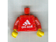 Part No: 973pb0834c01  Name: Torso Soccer Red/White Team, Adidas Sticker Front, Black Number Sticker Back (specify number in listing) / Red Arms / Yellow Hands