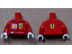 Part No: 973pb0920c01  Name: Torso Racers Ferrari/Shell front, Ferrari Logo back (Stickers) with K. Raikkonen Name Pattern / Red Arms / White Hands