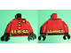 Part No: 973pb1097c01  Name: Torso Batman 'R' Symbol, Yellow Clasps and Belt with Pockets Pattern / Red Arms / Black Hands