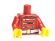 Part No: 973pb1425c01  Name: Torso Toy Soldier Uniform with 3 Gold Chains, 6 Buttons and White Belt with Gold Buckle Pattern / Red Arms with Gold Stripes / Yellow Hands