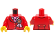 Part No: 973pb1665c01  Name: Torso Riding Jacket with Award Ribbon and Ascot Pattern / Red Arms / Yellow Hands