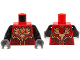 Part No: 973pb1715c01  Name: Torso Vest with Dark Red and Gold Armor with Scales and Orange Round Jewel (Fire Chi) Pattern / Black Arms / Dark Bluish Gray Hands