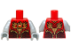 Part No: 973pb1715c07  Name: Torso Vest with Dark Red and Gold Armor with Scales and Orange Round Jewel (Fire Chi) Pattern / Light Bluish Gray Arms / Light Bluish Gray Hands