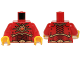 Part No: 973pb1723c01  Name: Torso Dark Red and Gold Armor and Necklace with Orange Round Jewel (Fire Chi) Pattern / Red Arms / Yellow Hands